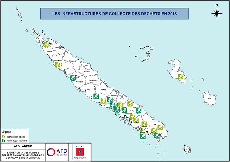 Carte « Les infrastructures de collecte des déchets en 2018 » - Descriptif à télécharger ci-dessous.