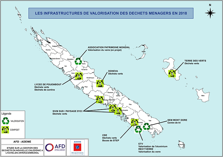 Carte « Les infrastructures de valorisation des déchets ménagers en 2018 » - Descriptif détaillé ci-dessous.
