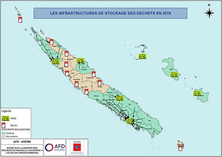 Carte « Les infrastructures de stockage des déchets en 2018 » - Descriptif détaillé ci-dessous.